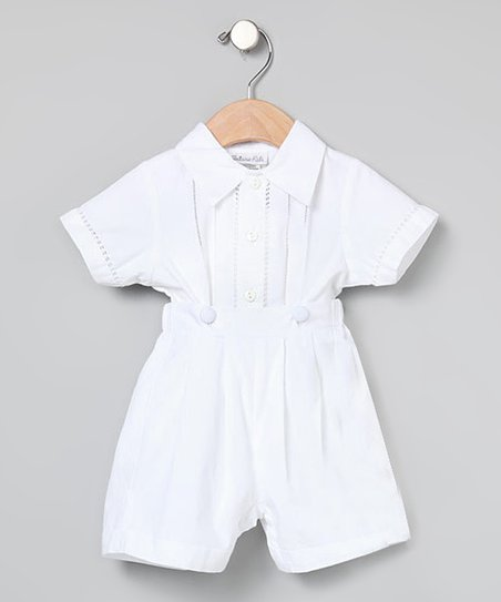 White Button-Up & Button-On Shorts - Infant