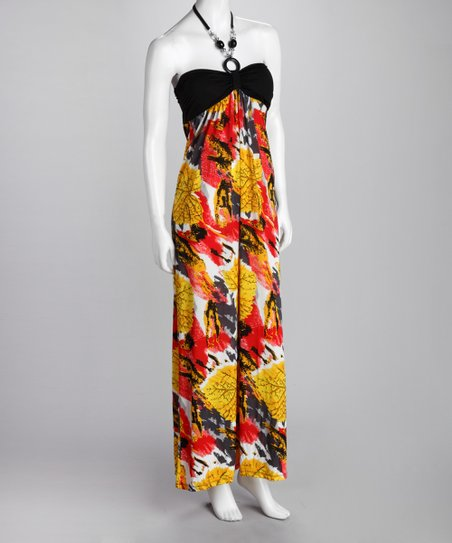 Yellow & Black Ring Halter Maxi Dress
