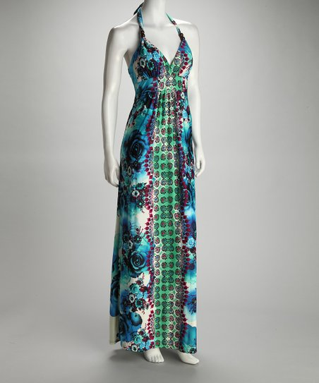 Green Flower Maxi Dress