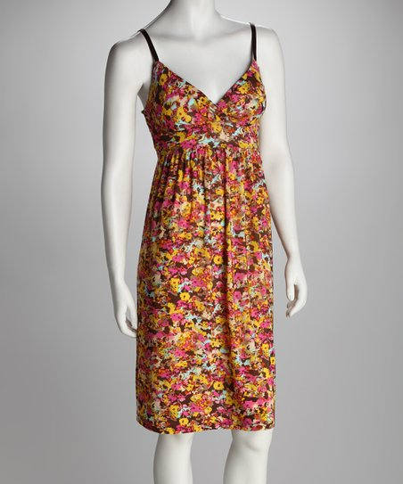 Brown Floral Surplice Dress - Women
