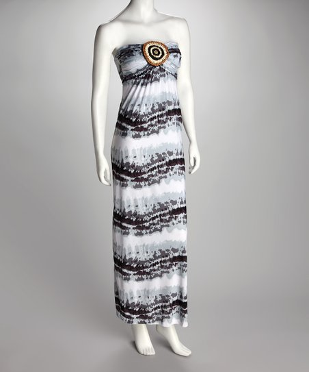 Gray Tie-Dye Strapless Maxi Dress - Women