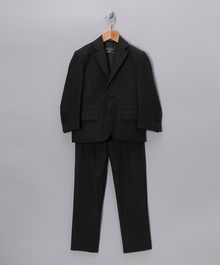 Black Pinstripe Three-Piece Suit - Boys