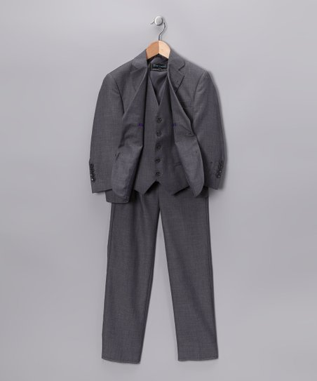 Light Gray Three-Piece Suit Set