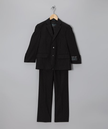 Black &amp; White Pinstripe Three-Piece Suit - Boys