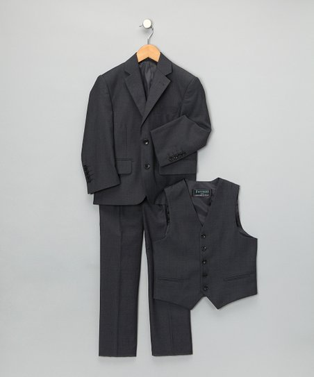 Charcoal Three-Piece Suit Set