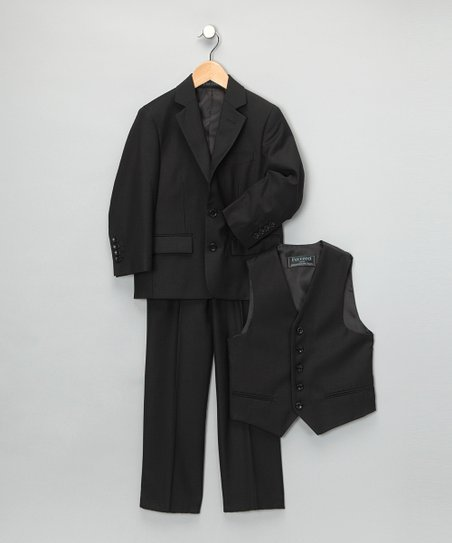 Black Three-Piece Suit Set - Boys