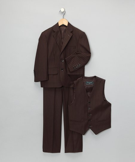 Brown Pinstripe Three-Piece Suit - Boys