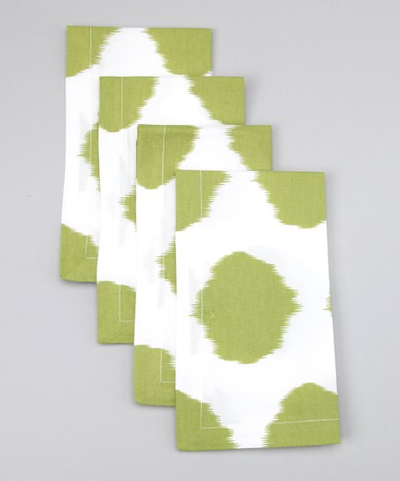 Fete Lime Ikat Dot Napkin - Set of Four