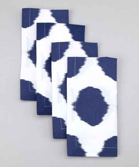 Fete Navy Ikat Dot Napkin - Set of Four