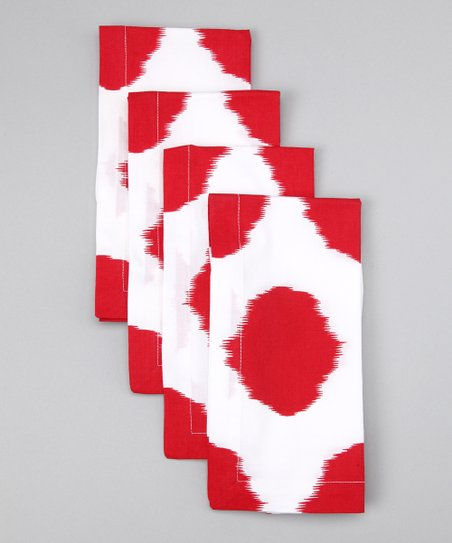 Fete Red Ikat Dot Napkin - Set of Four
