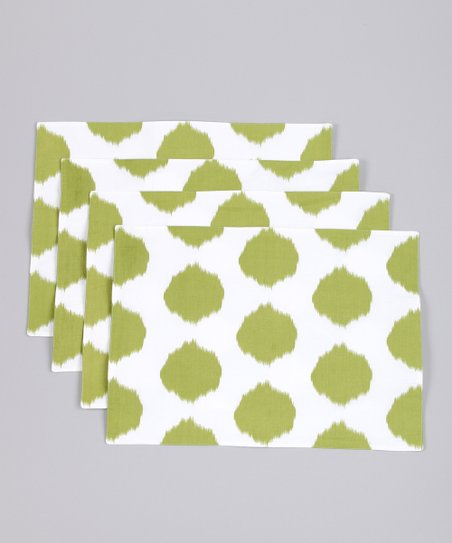 Fete Lime Ikat Dot Placemat - Set of Four