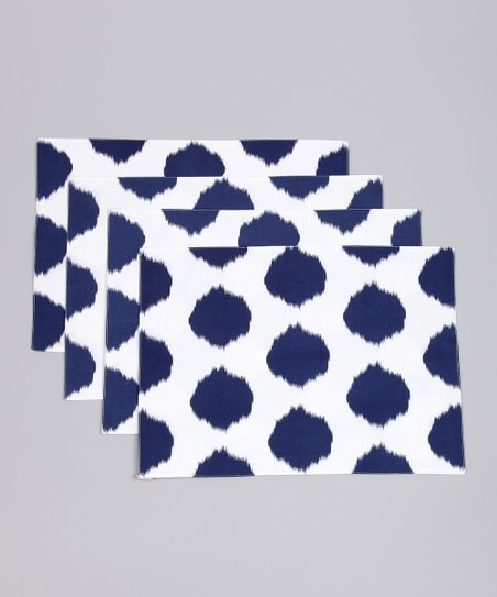 Fete Navy Ikat Dot Placemat - Set of Four
