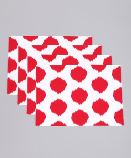 Fete Red Ikat Dot Placemat - Set of Four