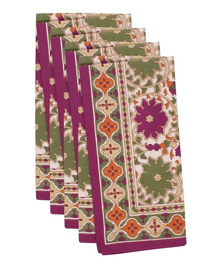Fete Flax & Purple Jaipur Napkin - Set of Four