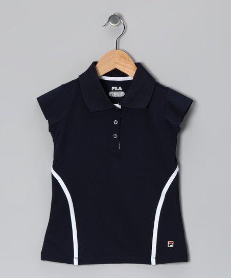 Peacoat & White Stripe Polo - Girls