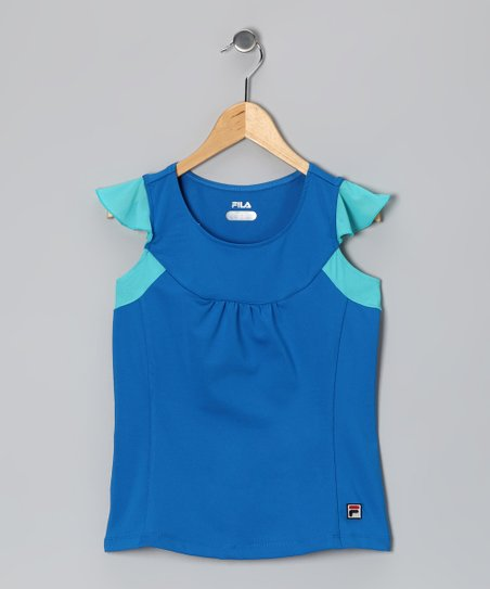 Imperial Blue Baseline Angel-Sleeve Top - Toddler & Girls