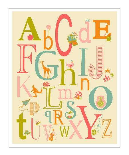Pink &amp; Orange ABC Creatures Gicle Print