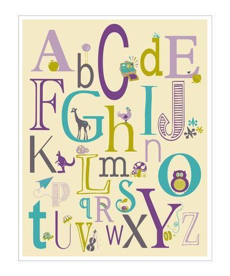 Purple ABC Creatures Giclée Print