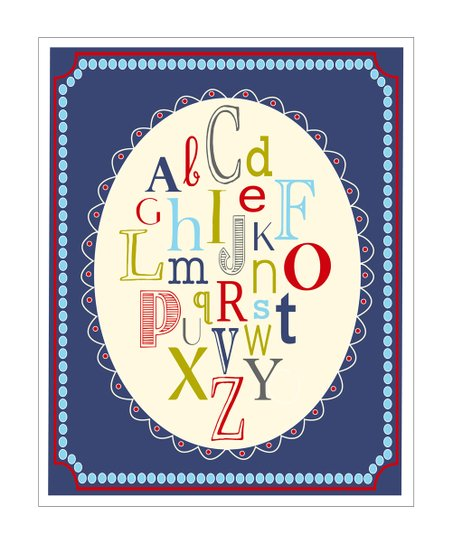 Navy ABC Oval Giclée Print