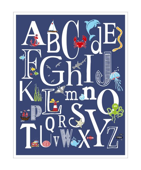 Navy Nautical ABC's Giclée Print