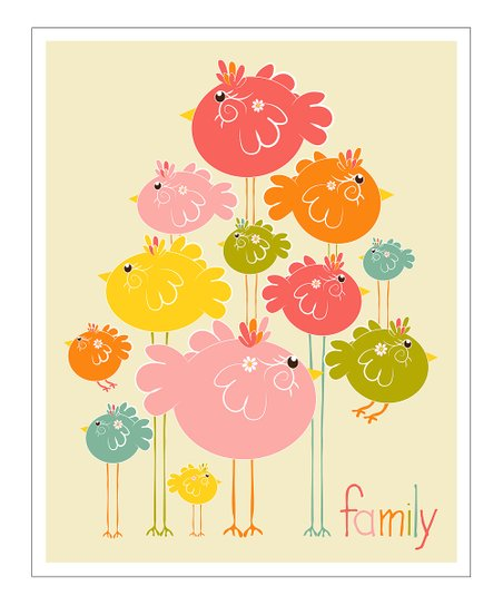 Pink &amp; Orange &#039;Family&#039; Gicle Print