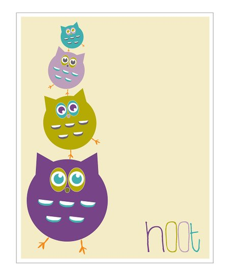 Cream & Purple 'Hoot' Giclée Print
