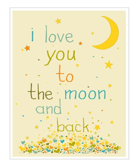 Cream &amp; Blue &#039;I Love You to the Moon&#039; Gicle Print