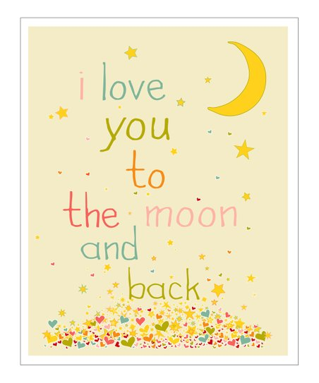 Cream & Pink 'I Love You to the Moon' Giclée Print