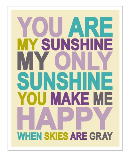 Purple &#039;You Are My Sunshine&#039; Gicle Print