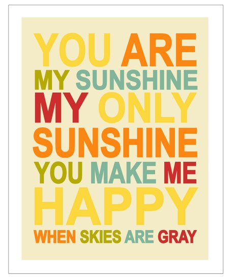 Red &amp; Yellow &#039;You Are My Sunshine&#039; Gicle Print