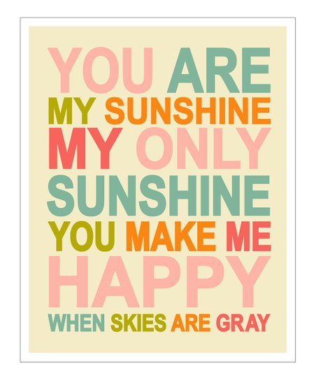 Pink &amp; Orange &#039;You Are My Sunshine&#039; Gicle Print