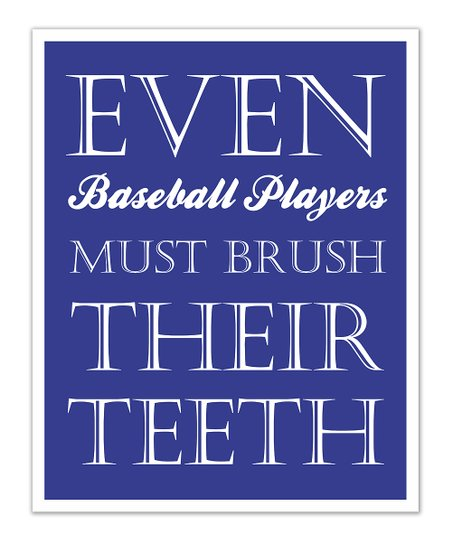 Fit to Print Designs Blue Baseball 'Teeth' Print