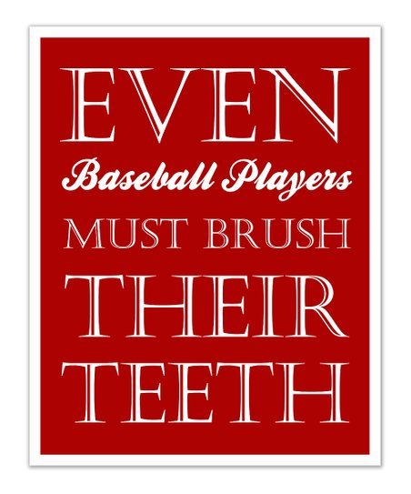 Fit to Print Designs Red Baseball 'Teeth' Print
