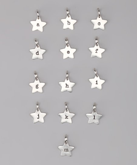 Sterling Silver Star Initial Charm - A to M