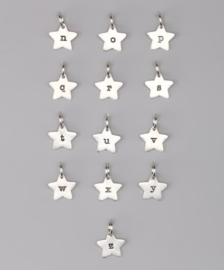 Sterling Silver Star Initial Charm - N to Z
