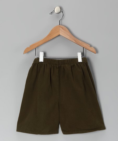 Army Green Brushed Twill Shorts - Boys