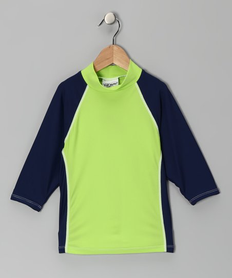 Navy & Lime Tide Pool Rashguard - Boys
