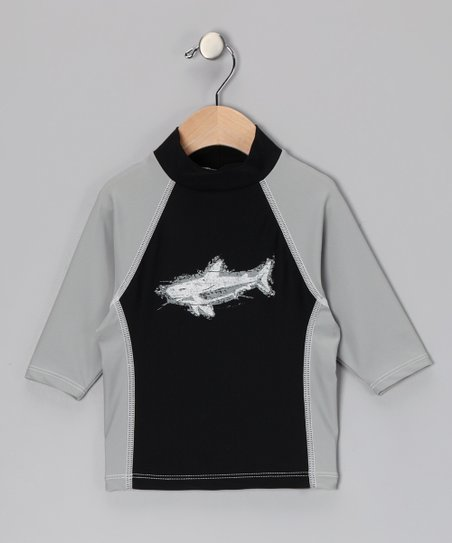 Gray & Black Jaws North Shore Rashguard - Infant, Toddler & Girls
