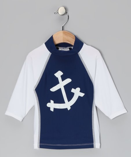 White & Navy Nautical Anchor Rashguard - Toddler & Kids