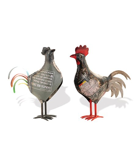 Recycled Metal Chicken Figurine Set