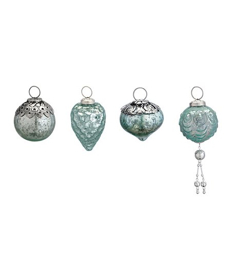 Light Blue Mercury Small Glass Ornament - Set of 12