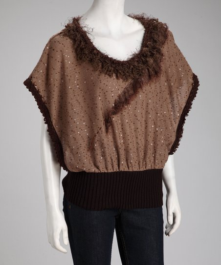 Camel Sequin Faux Fur Top