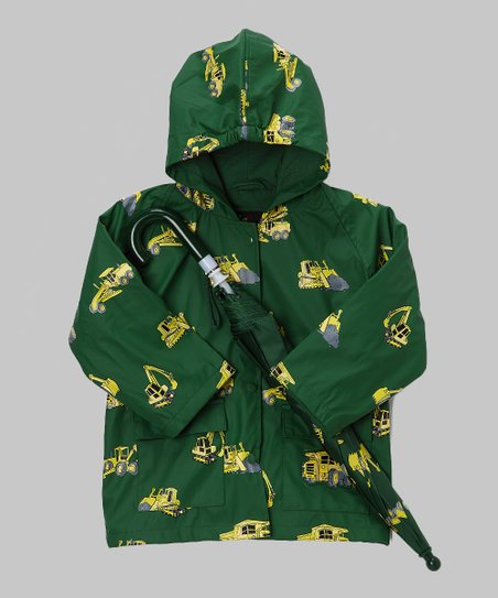 Green Construction Raincoat & Umbrella - Infant, Toddler & Kids