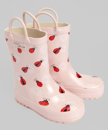 Light Pink Ladybug Rain Boot