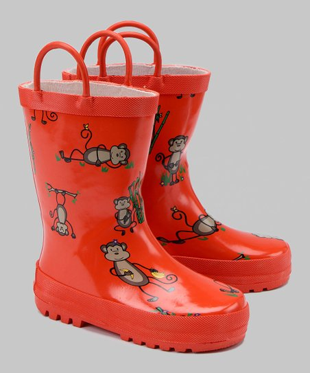 Coral Monkey Rain Boot