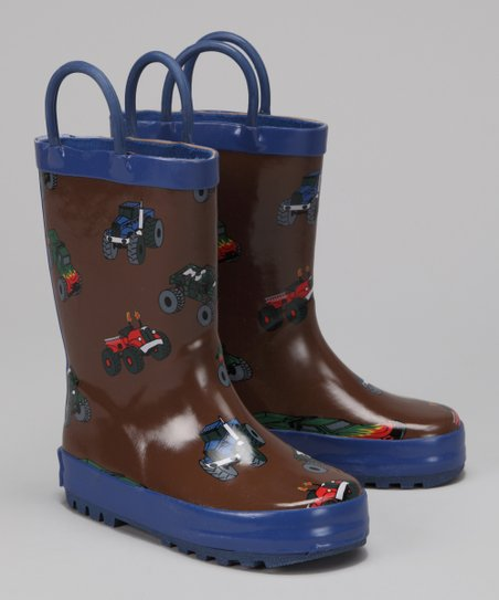 Brown Monster Truck Rain Boot