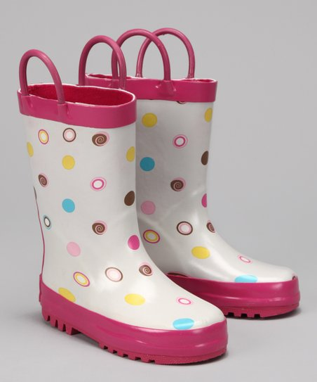 White & Pink Polka Dot Rain Boot
