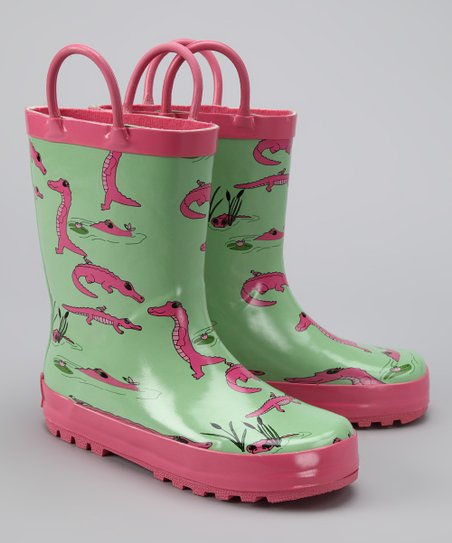 Green & Pink Gator Rain Boot