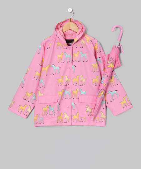 Pink Pony Raincoat & Umbrella - Toddler & Kids