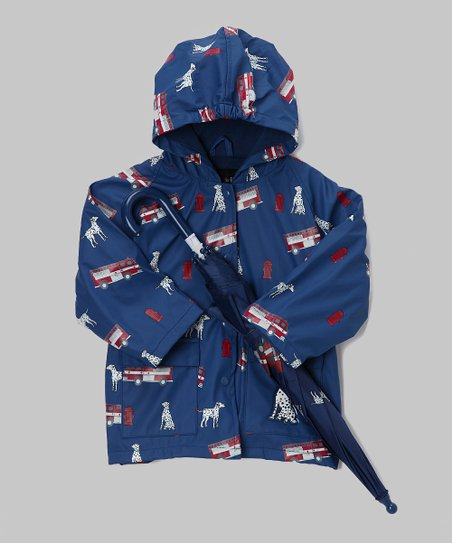 Blue Fire Truck Raincoat & Umbrella - Infant, Toddler & Kids